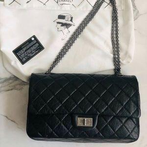 CHANEL Large 2.55 Handbag Black Aged Calf Vintage